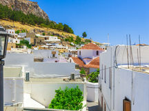 Greece trip 2015, Rhodos island, Lindos. Architecture of the city stock photos