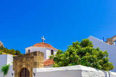 Greece trip 2015, Rhodos island, Lindos. Architecture of the city royalty free stock photo