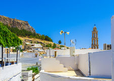 Greece trip 2015, Rhodos island, Lindos. Architecture of the city stock images