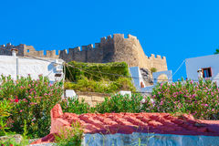 Greece trip 2015, Rhodos island, Lindos,. Overview of town with Acropolis stock images