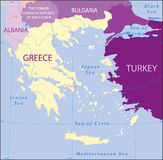 Greece-Turkey-Albania-Bulgaria-Macedonia Map Royalty Free Stock Photo