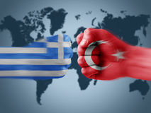 Greece x turkey. Boxing flag hands royalty free stock image