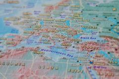 Greece and Turkey in close up on the map. Focus on the name of country. Vignetting effect.  royalty free stock photo