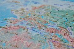 Greece and Turkey in close up on the map. Focus on the name of country. Vignetting effect.  stock photos