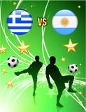 Greece versus Argentina on Abstract Green Stars Background Stock Image