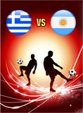 Greece versus Argentina on Abstract Red Light Background Royalty Free Stock Images