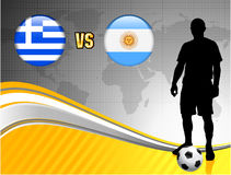 Greece versus Argentina on Abstract World Map Background Stock Images