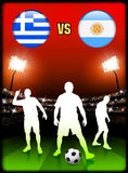 Greece versus Argentina on Stadium Event Background Royalty Free Stock Image