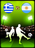 Greece versus Argentina on Stadium Event Background Royalty Free Stock Photography