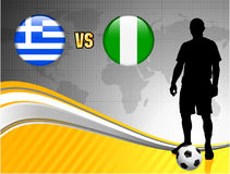 Greece versus Nigeria on Abstract World Map Background Royalty Free Stock Photos