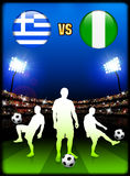 Greece versus Nigeria on Stadium Event Background Stock Images