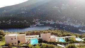 Greece villas above big sea. Aerial shot stock video footage
