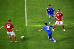Greece vs Denmark Soccer  Royalty Free Stock Photo