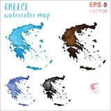 Greece watercolor country map. Handpainted watercolor Greece map set. Vector illustration royalty free stock photography