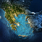 Greece and west Turkey. Elements of this image furnished by NASA. 3D rendering stock illustration