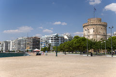 Greece. The White Tower of Thessaloniki on the quay Stock Photography