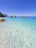 Greece. Wild beautiful natural archipelago beach with rocks in water. Island Lefkada, Leucas or Leucadia, Levkas, Lefkas, ionian sea, Greece stock images