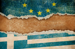 Greece withdrawal from European union Grexit concept. European union and Greece flags on cardboard pieces Stock Images