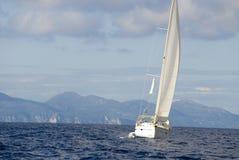 Greece. The Yacht on the Mediterranean Sea. Stock Photo