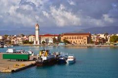 Greece Zante harbor. Greece Ionian Islands Zante or Zakynthos harbor and Agios Dionysios Church. picture taken on maj 2013 stock photos