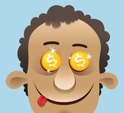 Greed. Head of a man with golden dollars in his eyes Stock Photography