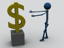 Greed. A rendered character and a dollar symbol. Conceptual picture Royalty Free Stock Photo