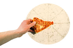 Greed. Hand grabbing the last piece of pizza Royalty Free Stock Photos