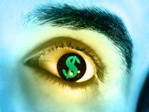Greed. Dollar symbol reflected in a man's eye. Digital illustration Royalty Free Stock Photography