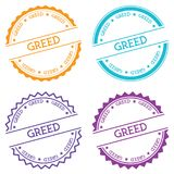 Greed badge isolated on white background. Flat style round label with text. Circular emblem vector illustration Stock Photo
