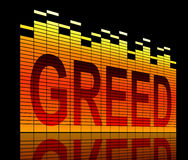 Greed concept. Illustration depicting graphic equalizer level bars with a greed concept Stock Image
