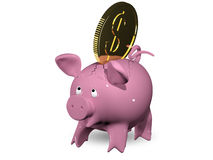 Greed. 3d illustration of a pink piggy bank Stock Photo