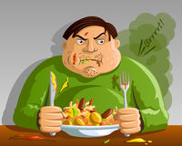 Greed - Gluttony - Man Overeating. Man Overeating - concept of Greed, Gluttony Royalty Free Stock Image