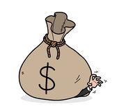 Greed. A hand drawn vector illustration of a big money bag on top of a greedy businessman Stock Photo