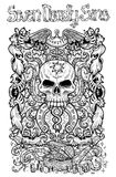 Greed. Latin word Avaritia means Avarice. Seven deadly sins concept, black and white line art. Hand drawn engraved illustration, tattoo and t-shirt design Stock Photography