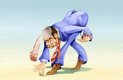 Greed. A man as he bends to pick up a coin loses brain Royalty Free Stock Photography