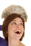 Greed money behind head Royalty Free Stock Photography