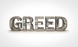 Greed. Money text on white background Royalty Free Stock Image