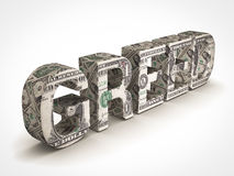 Greed. Money text on white background Royalty Free Stock Photos