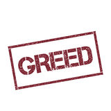 Greed rectangular stamp. Textured red seal with text isolated on white background, vector illustration Stock Photography