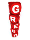 Greed. Red blocks of plastic letters making the word greed, white background Stock Images
