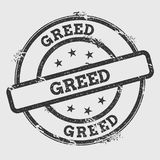 Greed rubber stamp isolated on white background. Grunge round seal with text, ink texture and splatter and blots, vector illustration Royalty Free Stock Photography