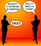 Greed. Sarcastic view on the origins of greed Royalty Free Stock Photography