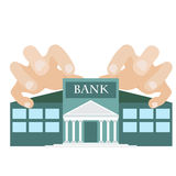 Greed. Vector illustration off greedy hands reaching bank building. symbol of one of the seven deadly sins Royalty Free Stock Images