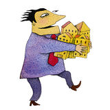 Greed. Water color and ink illustration Royalty Free Stock Photos