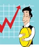 Greedy. Financier hugging a huge coin Royalty Free Stock Image