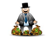 Greedy Banker With Money Grinning Stock Images