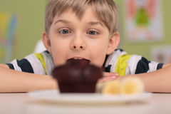 Greedy boy and muffin. Greedy amazed boy and tasty chocolate muffin Royalty Free Stock Photos