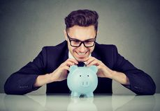 Greedy businessman excited with money profit stock images