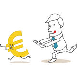 Greedy cartoon businessman chasing euro sign Royalty Free Stock Photos