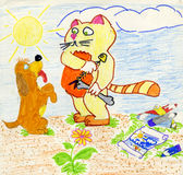 Greedy cat and naive dog. Begging for a bone. Marker drawing made by child Royalty Free Stock Photo